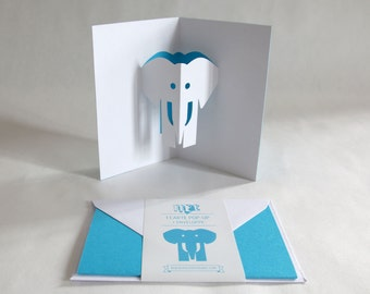 Pop-up Card // Elephant Sky Blue // Creative Stationery, Everyday Gift Card, Birthday Card, Greeting Card, Decorative Card