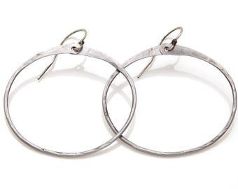 Steel hoop earrings. Medium hammered hoop earrings. Hoops hammered steel. Medium hoop earrings. Simple hoop earrings. Iron hoops Steel Hoops