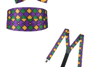 Mardi Gras Bow Tie, Cummerbund, and Suspender Package