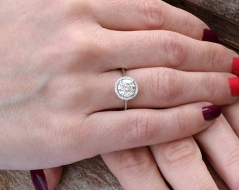 Diamond Engagement Ring-ON SALE!!!1.67 ct White Gold Ring-Engagement Ring-Promise ring-Halo diamond engagement ring- Anniversary Gift