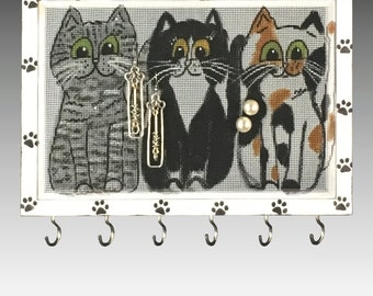 Hanging Wood Frame Earring Holder for Pierced Earrings includes Jewelry Hooks. Hand Painted Jewelry Holder on Fiberglass Screen. Cats.