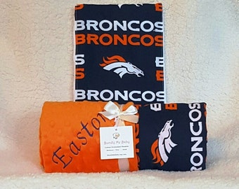Denver Broncos Baby Blanket Minky with NAME Football Embroidered Large Toddler Newborn PERSONALIZED Boy Girl Texans Cardinals Lions Bills