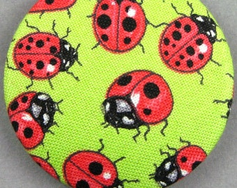Diameter 40 mm - 40-01 - ladybugs - fabric covered button