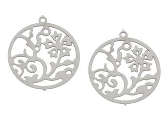 4 Pieces Stainless Steel Flower Pendant
