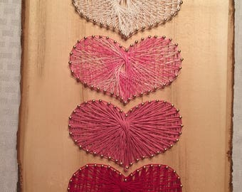 Ombre Hearts String Art