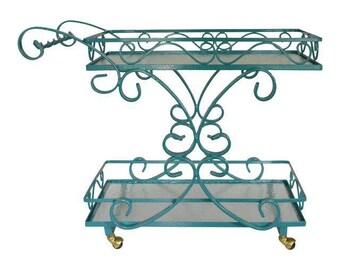 Bar Cart Server Iron Glass Teal