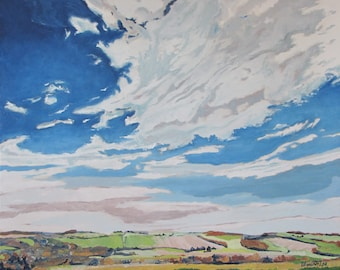"""Large Landscape Oil Painting Impressionist Skyscape Sky Cloud Fall Eastern Townships Canada By Fournier """" Clouded Sky On The Valley """"24 X 30"""