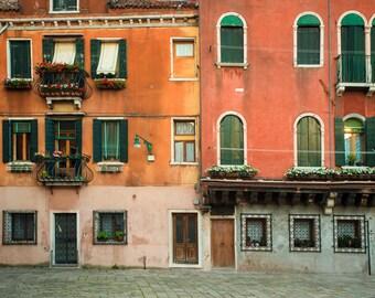 Venice Photograph, Italy Photo Italian Architecture Orange Red Houses Building Apartment Wall Art Home Decor ven62
