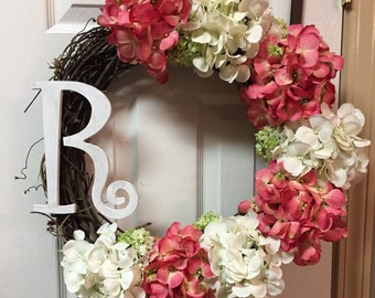 Initial Wall Decor, Size 24 Inches, Monogrammed Gifts, Hydrangea Wreath, Summer Door Wreaths, Wooden Monogram Of Choice, Spring Wreath