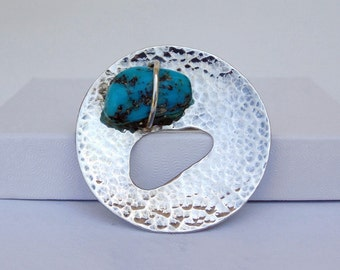 Vintage Brooch Modernist Brooch Sterling Silver Brooch Turquoise Nugget Jewelry signed WM Vintage 925 Silver Sterling Jewelry Vintage Pin