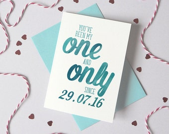 Personalised One and Only Date Card - Wedding Anniversary Date Card - Card for Husband - Anniversary Card - card for wife - boyfriend card