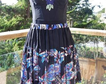 Black Corset Dress,  Strapless Black dress,  Gypsy dress, Festival dress, size S / M