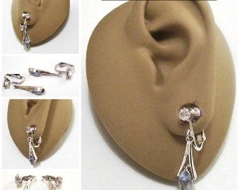 Avon Blue Marquis Stone Clip On Earrings Silver Tone Vintage Split Open Rib Round Clear Prong Set Rhinestone Long Dangles