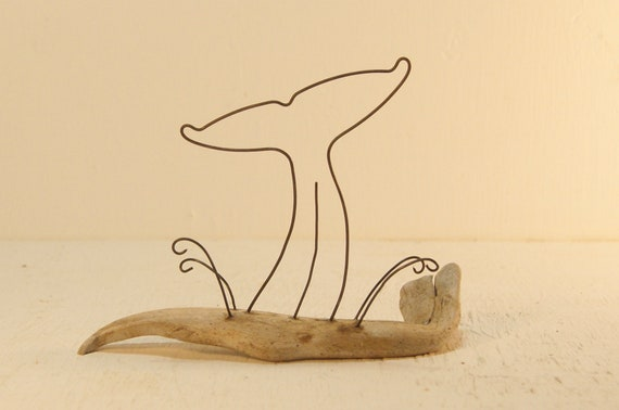 Whale tail and waves wire and driftwood sculpture. Wire art.