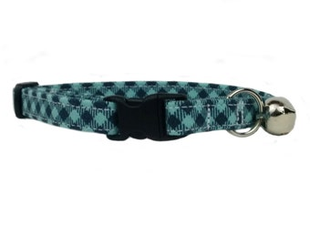 Preppy Blue Gingham Plaid Cat or Kitten Breakaway Safety Collar
