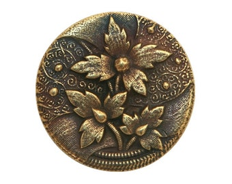 Floral Trio 1 inch ( 27 mm ) Susan Clarke Pewter Metal Button Antique Brass Color