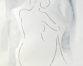 Female nude sketch from back. Woman figure drawing. Watercolor art. Ink drawing.