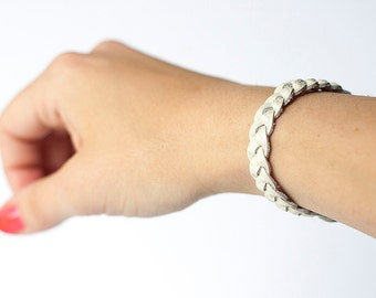 Braided Leather Bracelet / Soft Cotton