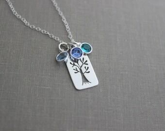 Personalized Family Tree Necklace - 925 Sterling Silver - Swarovski crystal Kid's birthstones - Grandma Jewelry - Christmas Gift for Mom