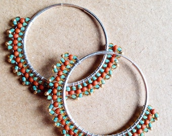 Beaded Hoop Earrings Sterling Silver Wire Hoops Turquoise + Terra Cotta Glass Beads