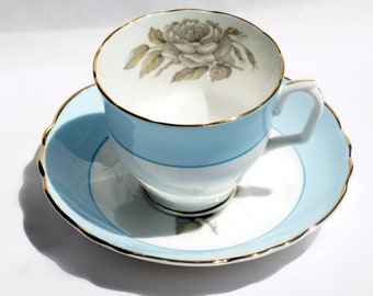 Crown Staffordshire Gray Blossoms Footed Teacup and Saucer