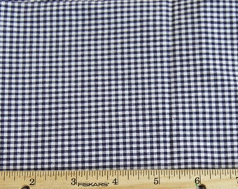 Navy Blue Gingham Check Fabric with Spandex - by the 1/2 yard