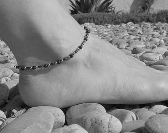 Lava stone hematite anklet, 4 mm hematite and lava stone beads, stainless steel beads and finishing, stone steel, essential oil diffuser