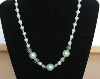 green and white pearl necklace for girls and women