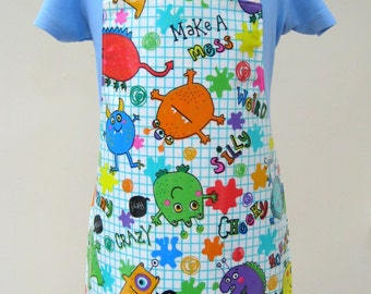 Children's Pvc Apron - Colourful Monsters, Oilcloth Apron, Waterproof Apron, Toddler Apron, Childs Apron