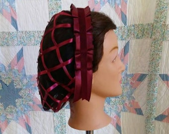 Wine Burgandy Ribbon Hairnet with Burgandy Folded Ribbon Coronet