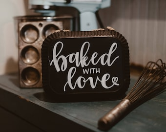 Baked with Love Metal Chalkboard Sign