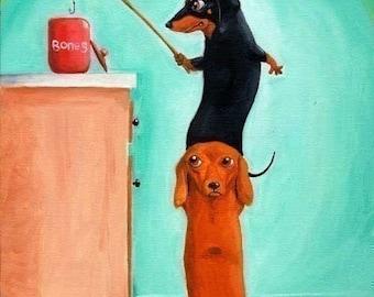 Dachshund gift, The Bone Thieves - Dachshund Dog Art wall decor