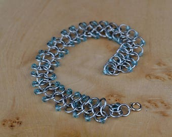 European 4-1 Bracelet Made From Bright Aluminum Rings With Aquamarine Blue Toho Seed Beads, Handmade Bracelet, Blue Beaded Bracelet