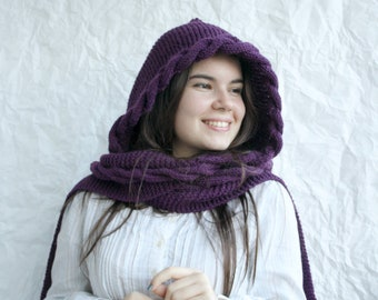 Purple Hooded Long Scarf, Wool Long Scarf, Hand Knit Cowl, Mother in law Gift, Gift Her, Knit Accessories, Cable Knit Hooded, Knitted Scarf