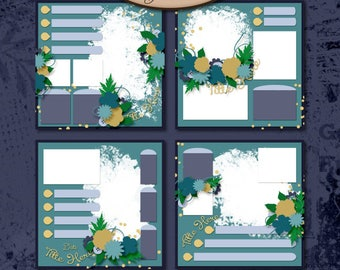 Digital Scrapbooking, Layout Template, Commercial Use: Organized Memories