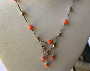 Vintage Orange Glass and Faux Pearl Necklace