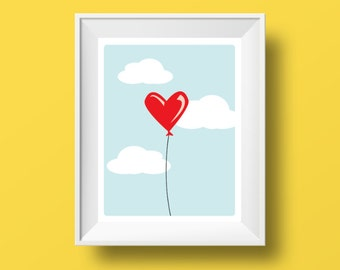 Cartoon Giclee Print 'Balloon Heart'. Retro printable, Poster A4 size. Fits 8 x 10""