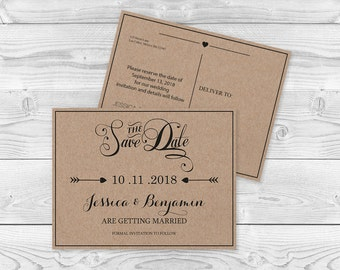 Save The Date Postcard Template Etsy - Save the date postcard template
