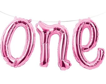 """Pink ONE Script 12"""" Balloon Phrase Banner Kit AIR FILL Foil Mylar 1st First Birthday Party Decorations Decor Backdrop Photo Prop"""