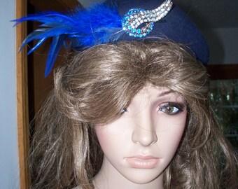 Womens  Hat : Royal Blue ~ Feathers ~ Rhinestone Womens Vintage Brooch ~ Womens  Bowler Hat, And Original Roberta Bernays