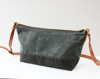 Gray Waxed Canvas Purse with Adjustable Shoulder Strap and African Lining