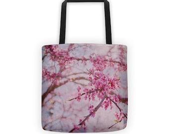 Cherry Blossom Floral Pink Flower Tote Bag Grocery Bag Shopper Tote Market Bag Beach Shoulder Bag Blush Pink Eco Friendly Market Tote