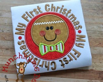 My First Christmas Gingerboy Applique
