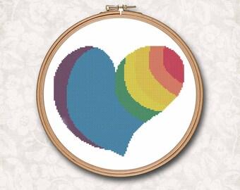 Rainbow Heart Love Counted Cross Stitch Pattern - PDF Digital Download