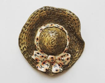 Vintage Japanese hat signed Chiyoko T. polymer clay brooch