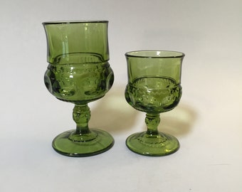 GREEN GLASS Wine Glass, Small green wine glass , Large green wine glass, thumbprint wine glass, Kings Crown wine glass, Indiana Glass, olive