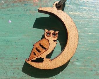 Wooden Owl on Moon Pendant