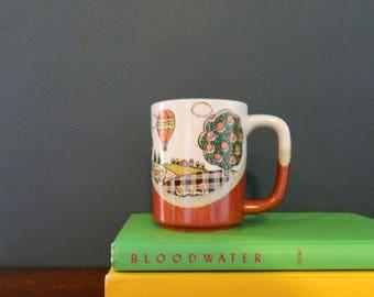 Vintage Hot Air Balloon Mug / Retro Stoneware Speckled Glaze Mug / 70s Otagiri Japan Coffee Mug
