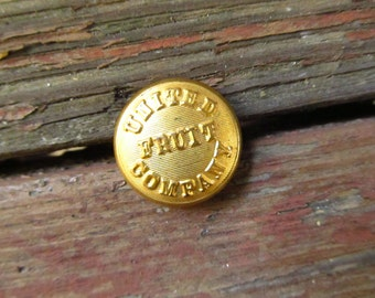 Vintage United Fruit Company Brass Button - Brass Scovill Waterbury MFG Company Button