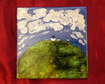 Follow me (original artwork on tile) Sheep